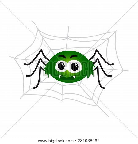 Cute And Funny Black Spider, Traditional Halloween Symbol, Cartoon Vector Illustration Isolated On W
