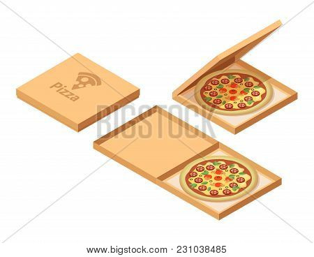 Pizza Cardboard Boxes Set. Isometric View. Opened And Closed Package. Vector Illustration Isolated O