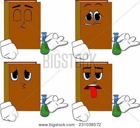 Books Holding A Test Tube. Cartoon Book Collection With Sad Faces. Expressions Vector Set.