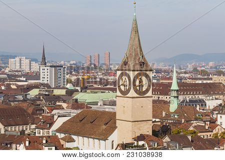 View Of The City Of Zurich From The Tower Of The Grossmunster Cathedral, Clock Tower Of The Saint Pe