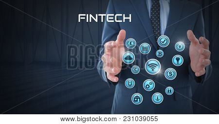Digital composite of Businessman with hands palm open and with various business icons