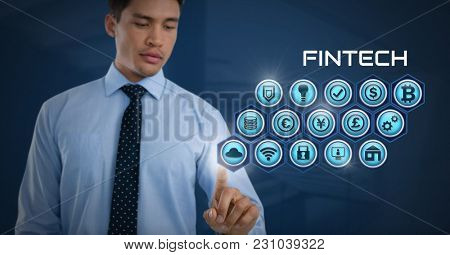 Digital composite of Businessman touching with various business icons