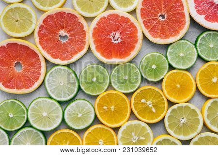 Top View Sliced Citrus Fruit Light Flat Lay Summer Background