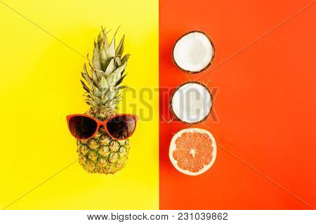 Pineapple Sunglasses Grapefruit Coconut Colorful Background Flat Lay Summer