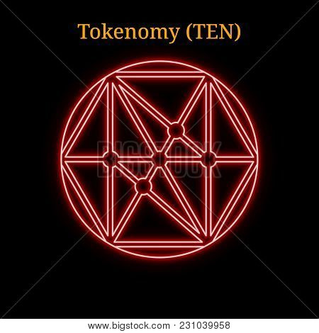 Red Neon Tokenomy (ten) Cryptocurrency Symbol. Vector Illustration Eps10 Isolated On Black Backgroun