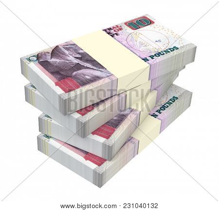 Egyptian pounds isolated on white with clipping path. 3D illustration.