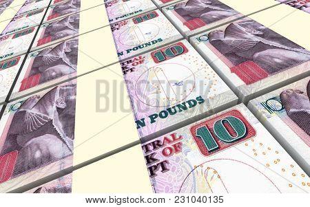Egyptian pounds bills stacks background. 3D illustration.