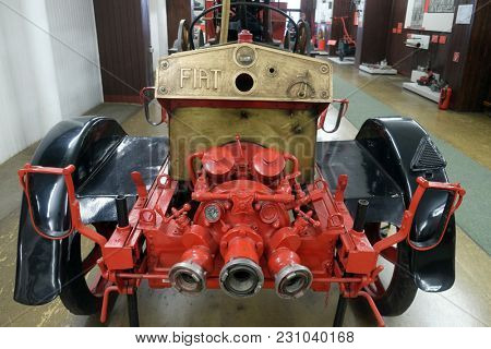 ZAGREB, CROATIA - DECEMBER 17: Motor pump Fiat in Nikola Tesla Technical Museum in Zagreb, Croatia, on December 17, 2016.