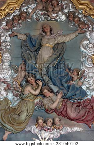 MARIJA NA MURI, CROATIA - AUGUST 08: Assumption of the Virgin Mary, main altar in the parish church of Assumption in Marija na Muri, Croatia on August 08, 2017.