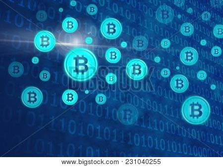 Digital composite of bit coin graphic icons and binary code
