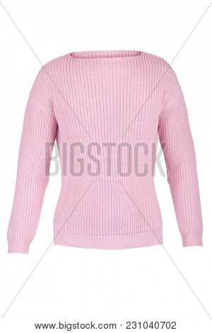 Pink knitted sweater, isolated on a white background