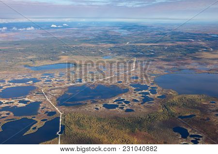 The Route Of The Gas Pipeline In Western Siberia In Summer, View From Above