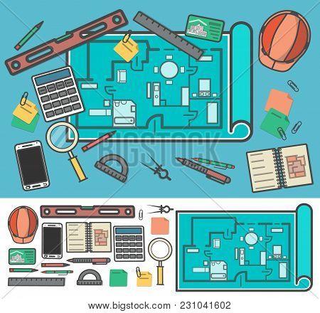 Architecture Icon Set  Illustration. Building Project, Design And Construction Management, Estate De