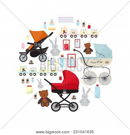 Baby Store Banner With Accessories For Newborn  Illustration. Kids Market Retail Poster. Stroller Or