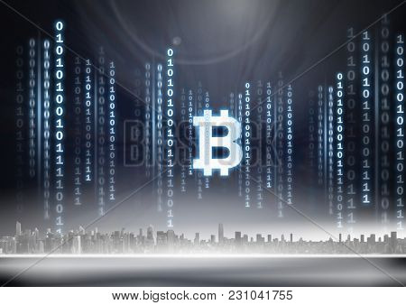 Digital composite of Bit coin icon and binary code lines above city