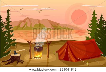 Summer Tourist Camp In Forest Near Lake At Sunset  Illustration. Campfire And Tourist Tent On River