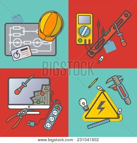 Electricity Engineering Banner Set  Illustration. Electrician Professional Instrument, Repair And Ma