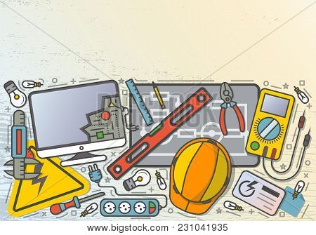 Electrician Workplace Top View Banner In Line Art Style  Illustration. Electricity Engineering, Cons