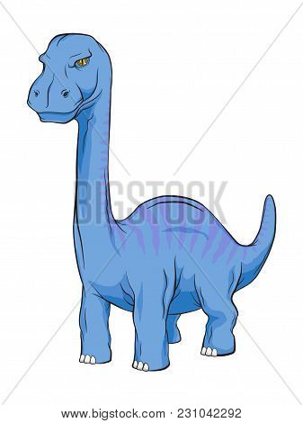 Apatosaurus Dinosaur, Long Neck Creature Monster In An Ancient Nature. Vector Color And Line Work Ca