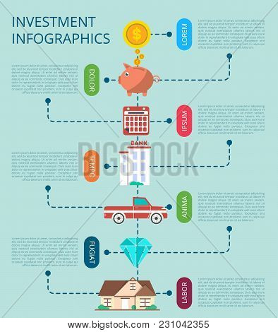 Investment Infographic Concept  Illustration. Smart Investment In Securities, Buying And Renting Com