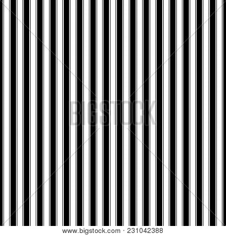 Seamless Pattern With Vertical Strips, Black And White Pattern For Fabric And Wrapping Paper, Vector
