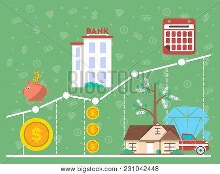 Financial Investment Diagram In Flat Design  Illustration. Financial Growth, Analytics, Statistics A