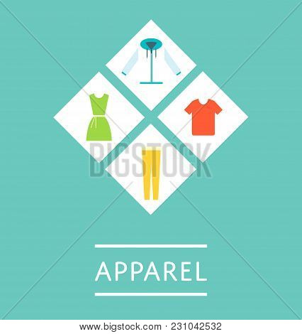 Apparel Shop Logo Or Icon Set In Flat Design  Illustration. Shopping Advertising, Mall Flyer Design,