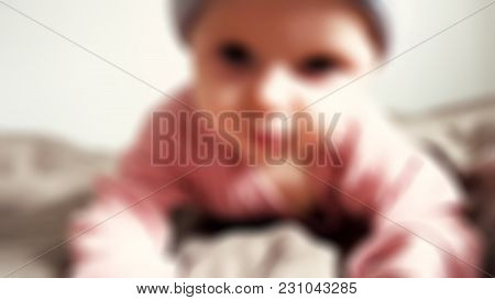 Cute Baby On Bed Theme Image Blur Background With Bokeh