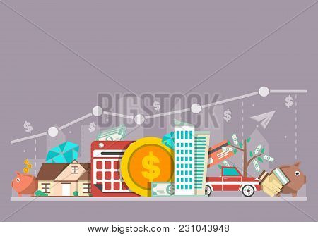 Investing In The Future  Illustration. Flat Line Design Concept For Smart Investment, Finance And Ba
