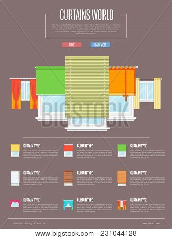 Curtains World Concept In Flat Design  Illustration. Window With Colorful Curtains, Jalousie, Draper