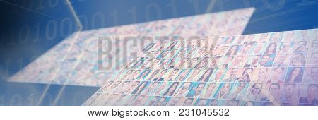 Digital image of hexagon shape with binary numbers on screen against portrait collage very wide perspective