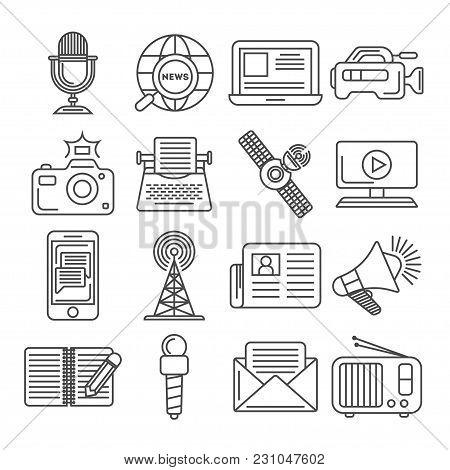 Social Media And World News Icon Set Isolated Vector Illustration. Online Social Network Communicati