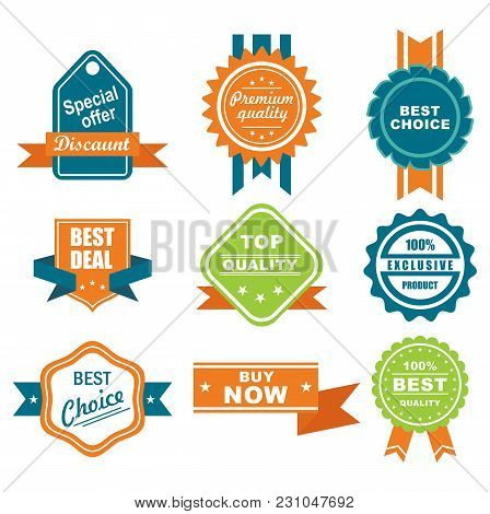 Discount Sale Sticker Set Isolated Vector Illustration. Best Price Tag, Special Offer Discount, Supe