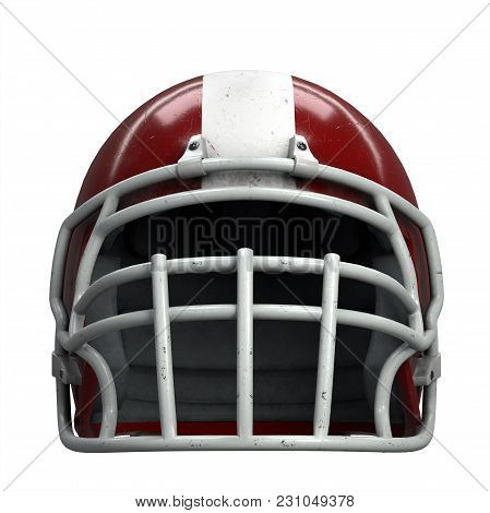 Old American Football Helmet. Red Helmet With Dirt And Scratches. Front View. Oldschool Used Sport E