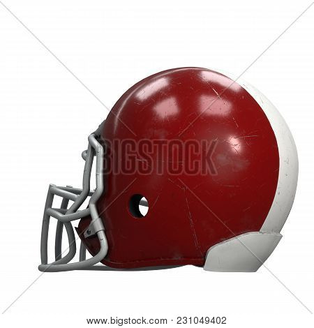 Old American Football Helmet. Red Helmet With Dirt And Scratches. Back View. Oldschool Used Sport Eq