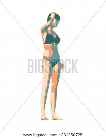 Beautiful Sexy Fitness Girl. Pretty Woman Wearing Bikini. Half Turn View.