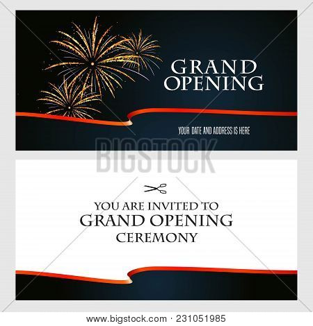 Grand Opening Vector Illustration, Background, Invitation Card. Template Invite To Red Ribbon Cuttin