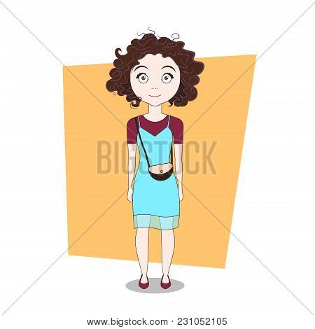 Cute Cartoon Hipster Girl Wearing Modern Stylish Clothes Vector Illustration
