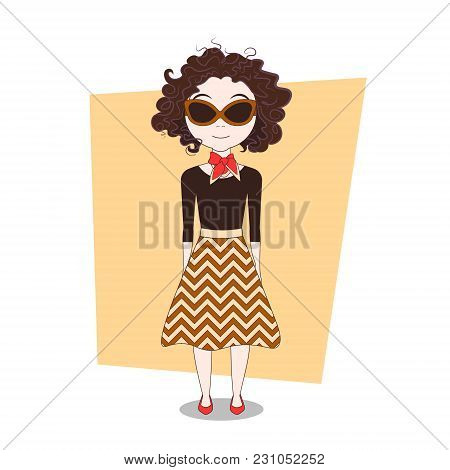 Cute Cartoon Doodle Girl In Modern Elegant Clothes Vector Illustration