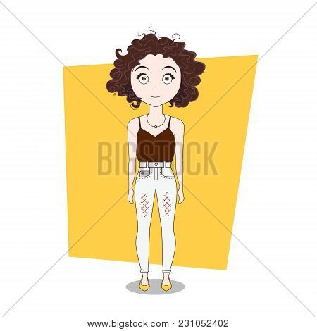 Cute Doodle Cartoon Curly Girl In Hipster Clothes Vector Illustration