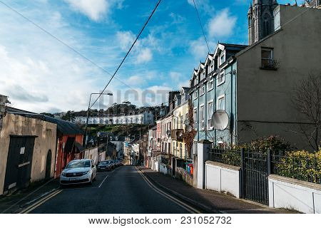 Cobh, Ireland - November 9, 2017: Picturesque View Of Street Of Small Irish Coastal Town.