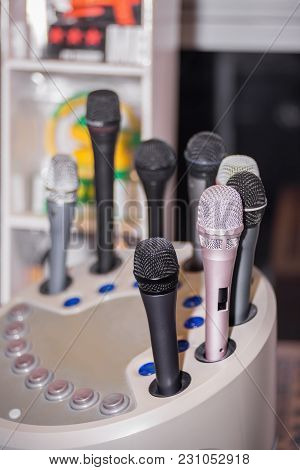 Microphone Testing Station With Various Microphones. Close Up.