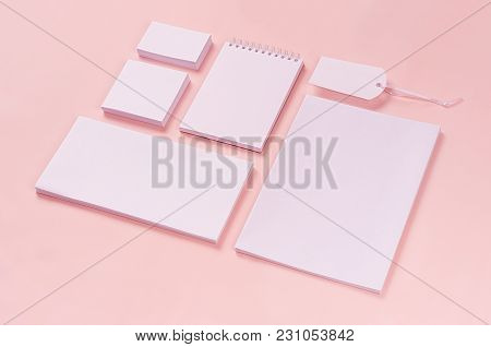 Corporate Identity Template, White Stationery Set With Blank Bussines Cards, Labels, Stickers, Notep