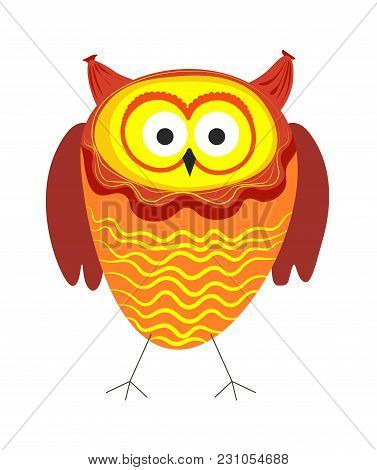 Funny Owl With Big Eyes And Bright Plumage Stands On Thin Claws With Plump Body And Short Wings. Unu