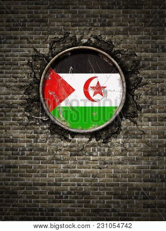 3d Rendering Of A Sahrawi Arab Democratic Republic Flag Over A Rusty Metallic Plate Embedded On An O