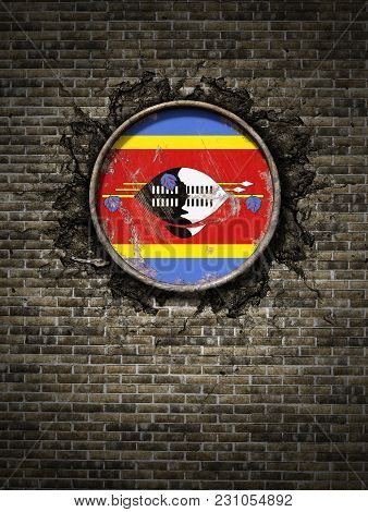 3d Rendering Of A Kingdom Of Swaziland Flag Over A Rusty Metallic Plate Embedded On An Old Brick Wal