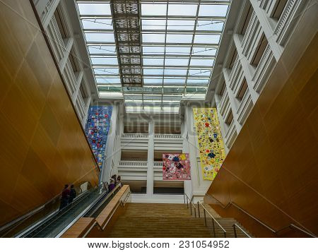 Singapore - Feb 11, 2018. Interior Of National Gallery Singapore. The Gallery Oversees The World Lar