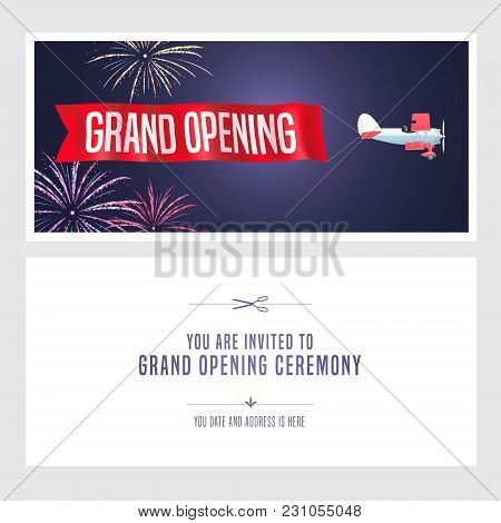 Vintage Airplane With Grand Opening Banner Vector Illustration, Invitation Card. Template Flyer, Inv