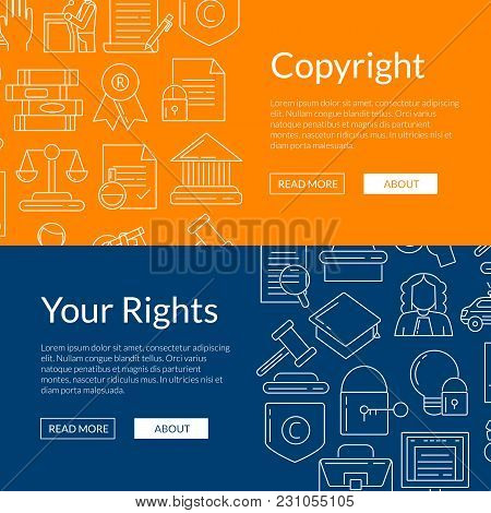 Vector Linear Style Copyright Elements Web Banner Poster Templates Illustration