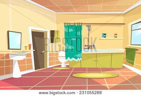 Vector Cartoon Bathroom Interior Background Template. Modern Home, Hotel Apartment Lavatory, Restroo